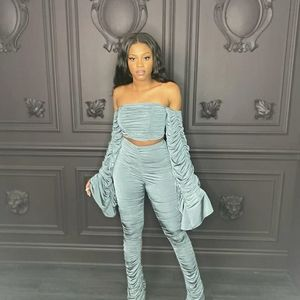 Brand New Two Piece Ruched Pant Set